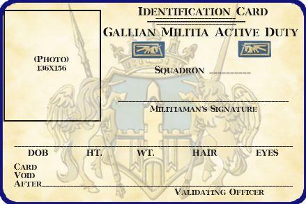Gallian Militia Id Card Template By Lieutenantgordon On