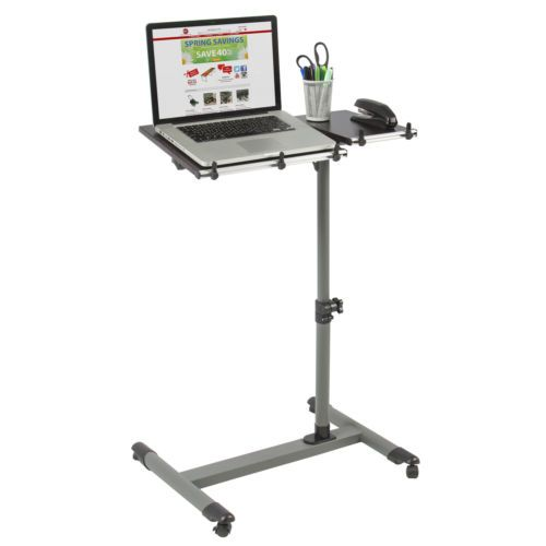 Rolling-Laptop-Table-W-Tilting-Tabletop-Overbed-Desk-TV-Food-Tray-Hospital-PC
