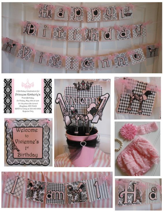 LOVE HER BANNERS!! Paris Theme 1st Birthday Party Package -OOH LA LA on Etsy, $269.00