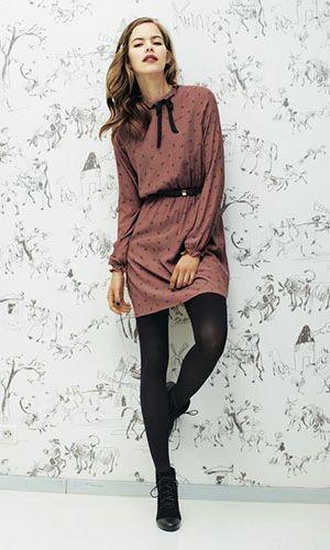 Vestido de manga | meia calça fio 80