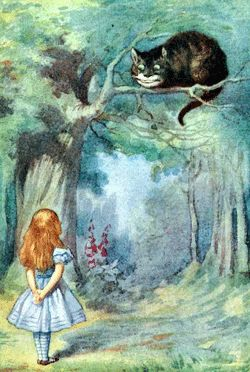 Through the Looking Glass. Cheshire Cat and Alice.