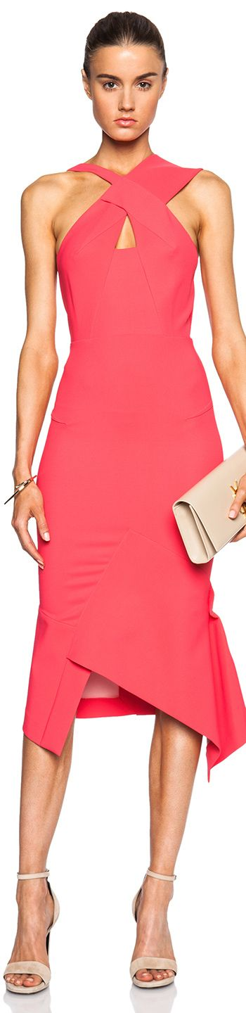Great spring & summer color especially on tan skin <ROLAND MOURET CATTON DRESS IN WATERMELON> #repin