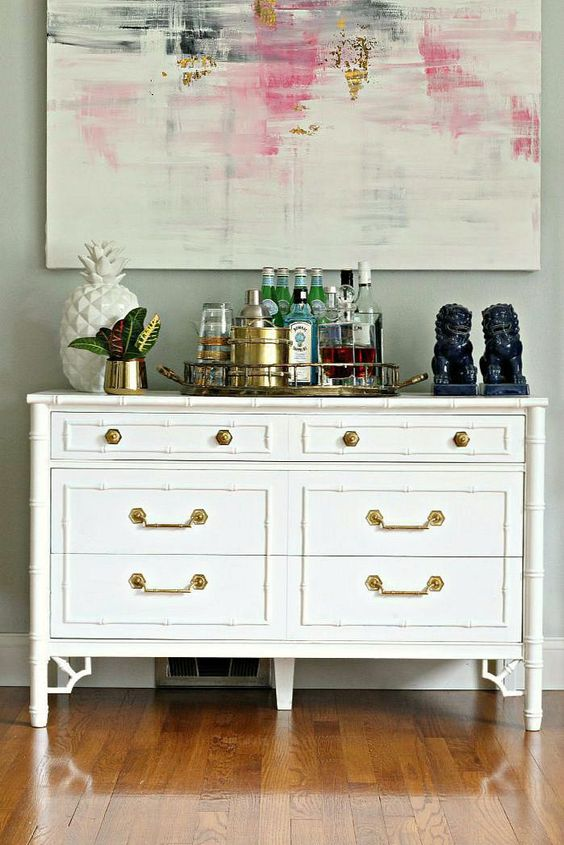 DIY Vintage Bamboo Dresser Makeover with oil-based paint and a great tip to take paint off brass hardware