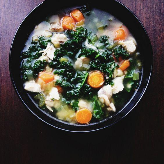 Lemon Dill Chicken Soup with Kale, Carrot, Leek and Celery | OZMUNDAREGALIS