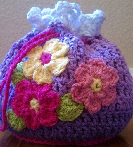Girls bag with crocheted flowers  handmade by smileyface21, $15.00