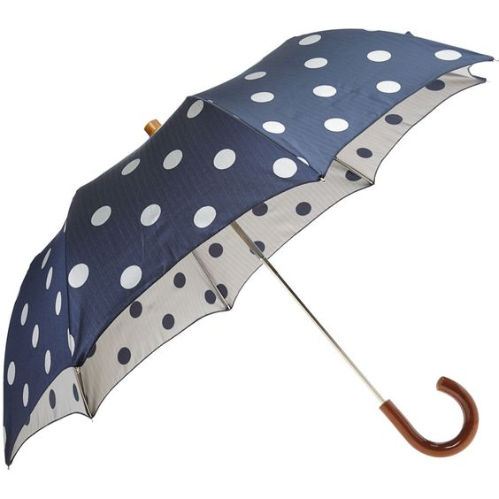 this would have been perfect if it rained on my wedding day - navy polka dog umbrella!