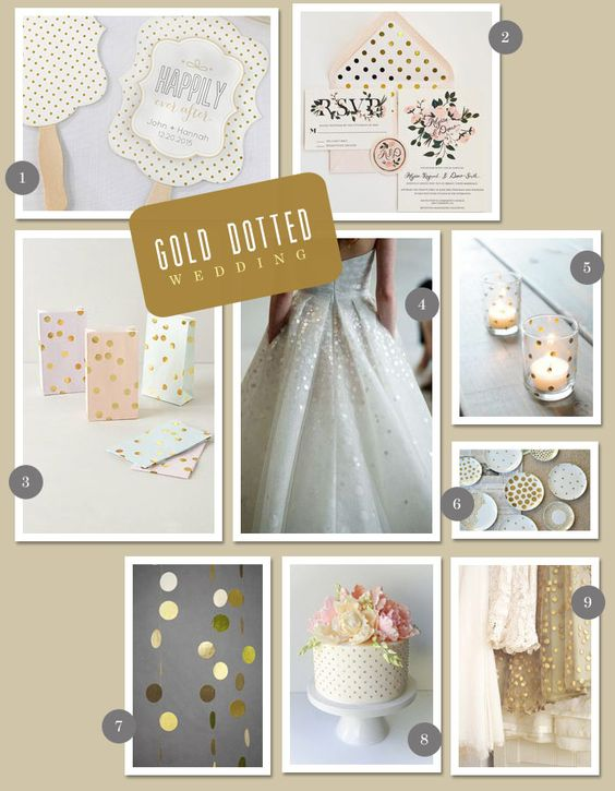 "For a softer ""spin"" on a classic wedding theme, try inspiration for a gold-dotted design! This kind of decor takes classic features like bright white and gold, and gives them a more feminine appeal. Try swapping black & white for gray & white, or add a soft pink to the palette!"