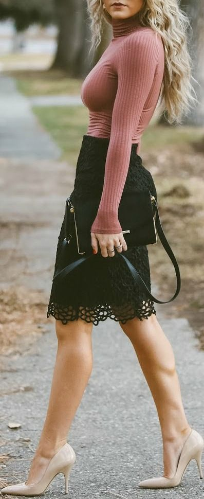 Black lace pencil skirt. love the lace detail on the skirt, hate the turtleneck :):