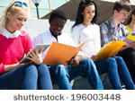 group of university students... | Shutterstock . vector #196003448