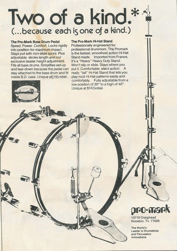 Ad for Pro-Mark bass drum pedal and hi hat stand. Mid 70s. Made by Capelle in France, aka Orange pedals. I had them both (still have the bd pedal), the hh stand was especially good for its day.