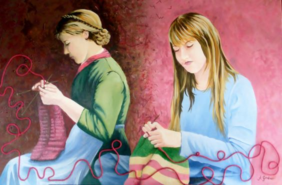 "Девушки вяжут          ""Girls knitting"" Meroogal Art Prize entry 2011  Acrylic on canvas   80cm X 60cm   $400:"