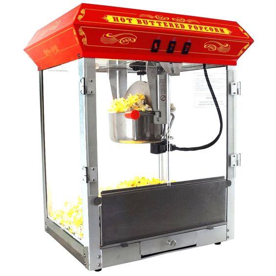 Fun Time Carnival Style 8oz Hot Oil Popcorn Machine (Red)