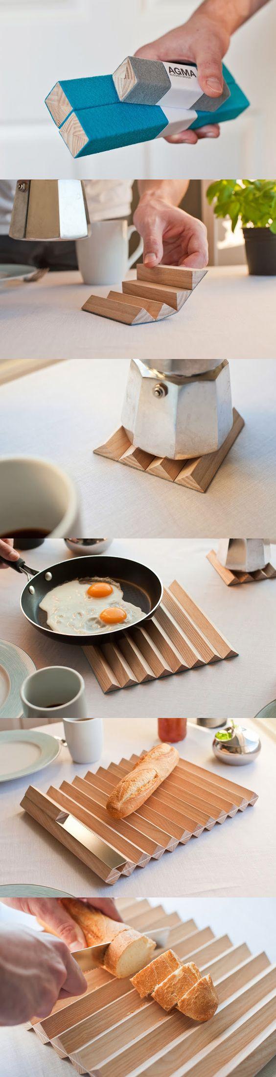 A suíça Bussard Design criou o AGMA Trivets, que são esses bastões de madeira compactos para guardar. Quando abertos, se transformam em descansos de mesa para apoiar recipientes quentes, com muito estilo. Um paralelepípedo ganha a forma triangular.