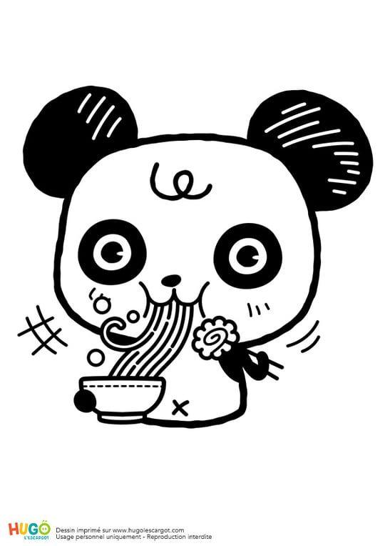Panda Et Bol De Ramen Kawaii Coloriage Illustration Kawaii