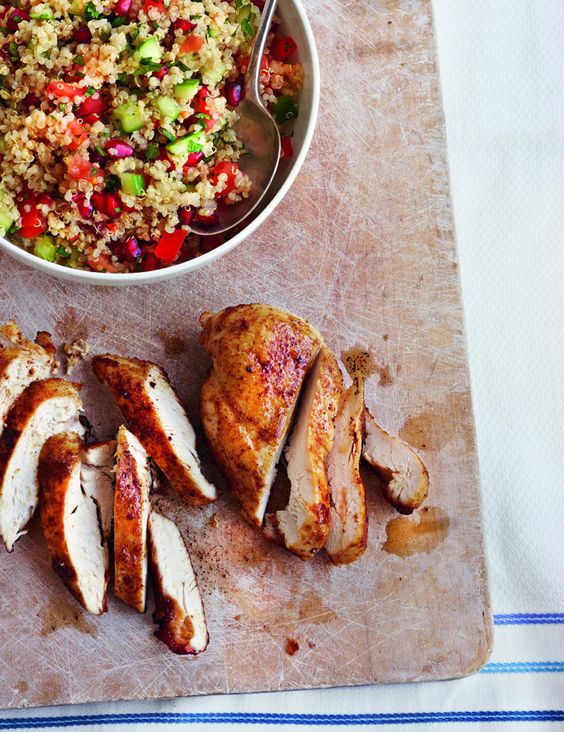 This spiced roast chicken recipe is low fat, low GI and rich in protein. If you can't find quinoa for the tabbouleh, use couscous.
