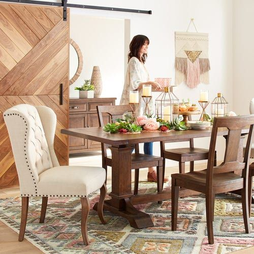 Have A Seat At The Table Designed Exclusively For Pier 1 Our Dawson Dining Collection Is The Per Brown Dining Table Wingback Dining Chair Family Dining Rooms