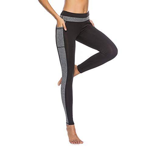 Hiunisyue Women High Waist Yoga Pants with Pockets Tummy Control Workout Pants Yoga Leggings