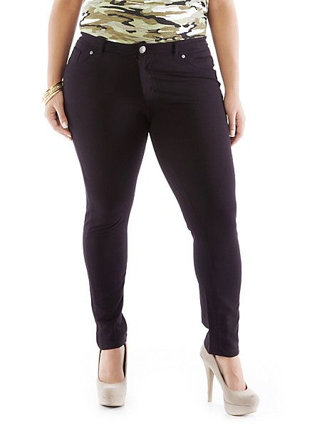 Plus-Size Solid Knit Leggings