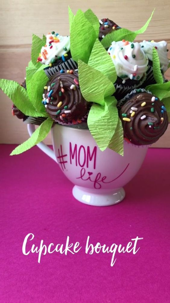Adorable cupcake bouquet for mom on Mother's Day :-).