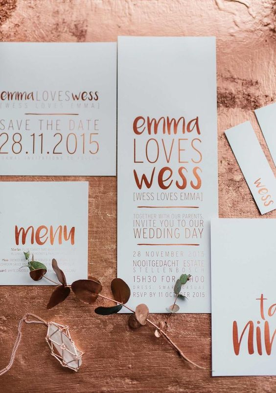 Romantic Copper Metallic & Blush Wedding Ideas: The stunning copper, metallic brush-lettered wedding stationery suite was created by the ever talented Pretty in Stains.  http://www.confettidaydreams.com/copper-metallic-and-blush-wedding-ideas/