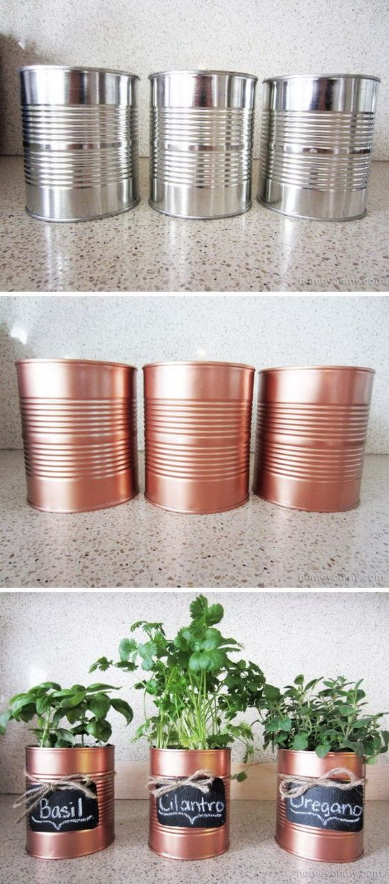 DIY Copper Tin Can Planters And Chalkboard Tags.: