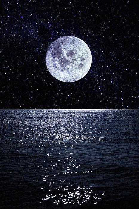 Full Moon Reflecting On Ocean by Dimitri Otis