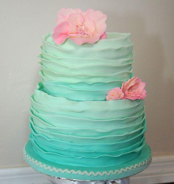 mint ombre raffed cake