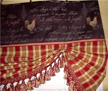 French Country Roosters Balloon Shade Valance Curtains