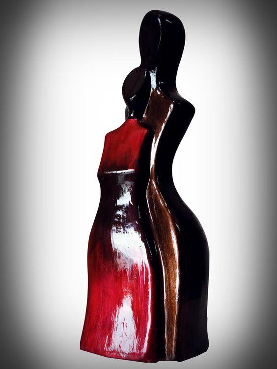 Escultura Pareja Afecto  #ceramica #pintura #pareja #novios #rojo #café #afecto #amor