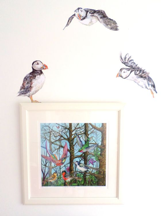 Puffin wall stickers / decals (trio), printed from my original watercolour and…