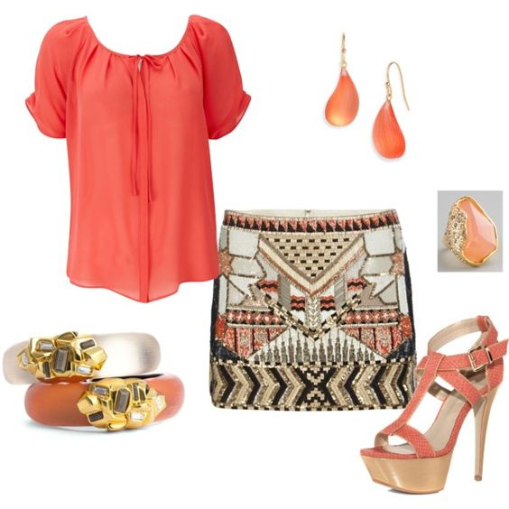 Coral, created by carmengriffith on Polyvore