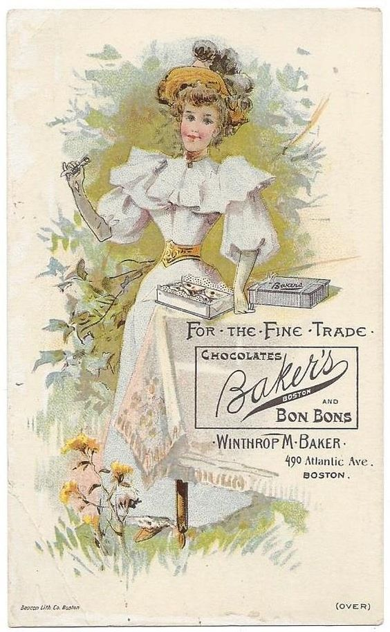 Lady with Boxes of Baker's Chocolates and Bon Bons - Beacon Lith. Co. Boston, MA
