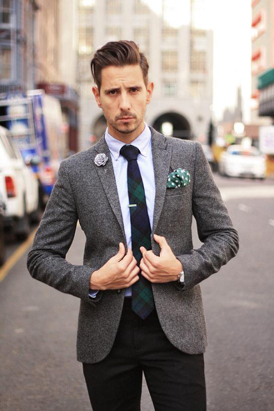 Grey flannel blazer, blue oxford shirt, grey lapel flower. green ...