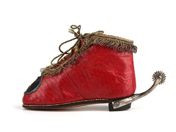 Child's shoes in red leather with a kid and silk lining and gold thread edging and laces embroidered with the Royal personal crest of King Frederick William II of Prussia. 1750-1755 18th century Children's shoes: