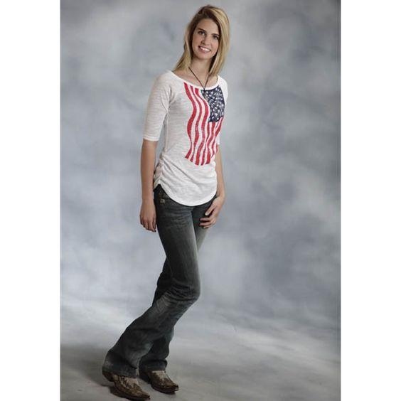 Roper Ladies Short Sleeve White Flag Tee