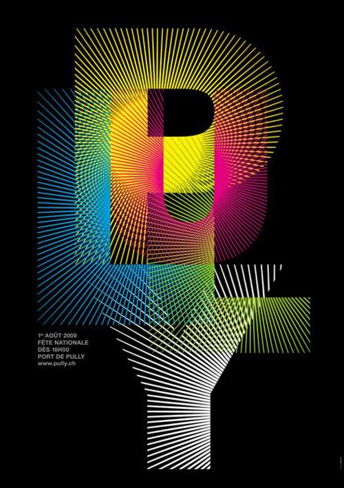 L'uso dei raggi per dare risalto a un testo - un'immagine - è un espediente che da sempre buoni risultati. Focalizzano l'attenzione e lo fanno risplendere, dandogli un'aura di luce.  GDEA Typographic Design :: Pully - Designed by Nicolas Zentner