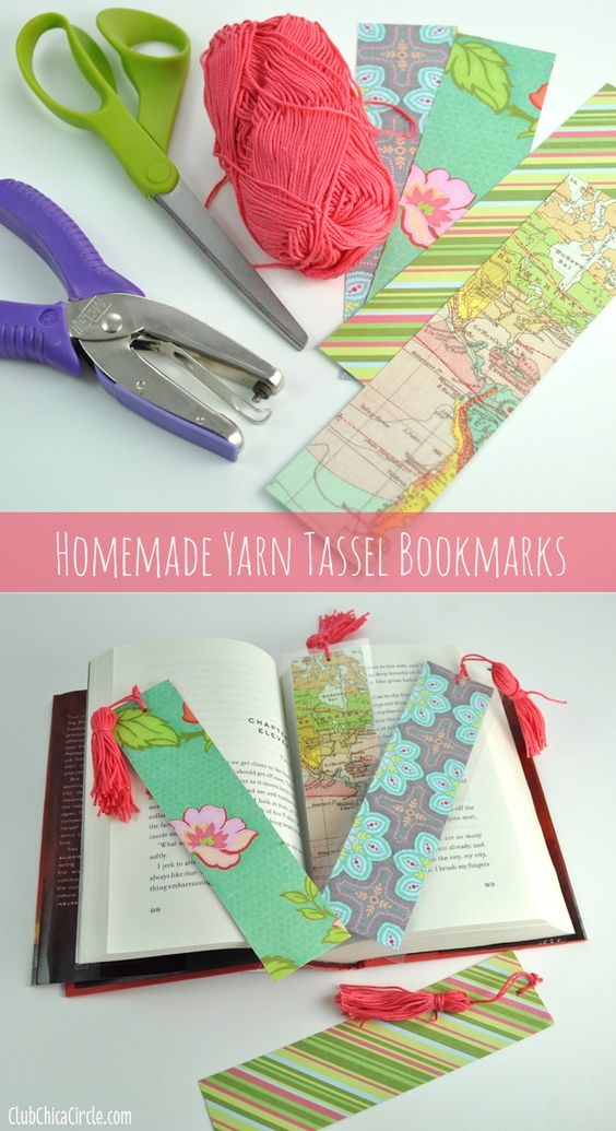 How to make a homemade tassel bookmarks with scrapbook for Diy bookmarks for guys
