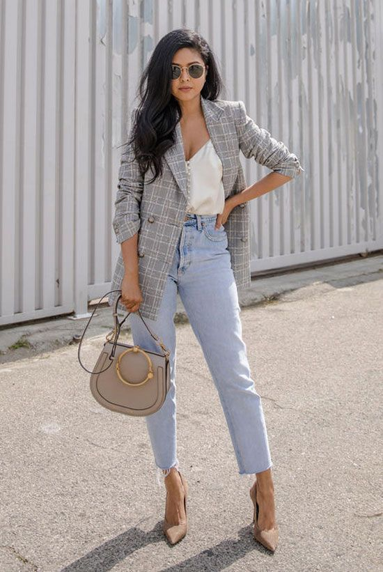 Grey check blazer, white cami top, mom jeans, beige heels