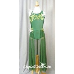 Forest Green Leotard with Mesh Skirt and Emboidered Appilques - Swarovski Rhinestones - Size AS
