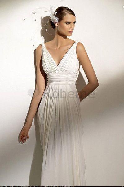 Robe de mariée naturel simple sexy robe de mariée déesse manche nulle