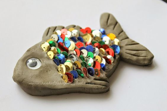 Cool kids art project. Clay fish with sequin scales. From Sun Hats & Wellie Boots: