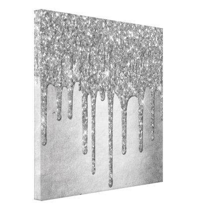 Sparkle Drip Platinum Silver Metallic Ice Canvas Print Zazzle Com In 2020 Glitter Wall Art Glitter Paint Canvas Glitter Canvas
