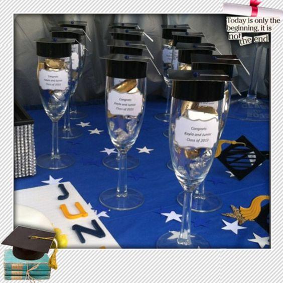 Decoracion Graduacion Bachiller ~ Copas con dulces como recordatorio de fiesta de grado #FiestaDeGrado