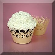 Lace Cut Paper Cupcake Wrappers - Ivory Cream Floral Edge