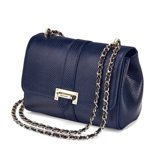Lottie Bag in Midnight Blue Lizard from Aspinal of London