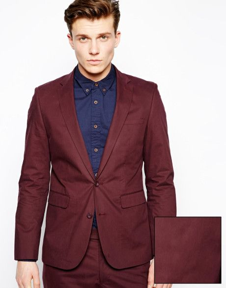 Men's Red Slim Fit Suit Jacket In Poplin | Maroon suit, ASOS and