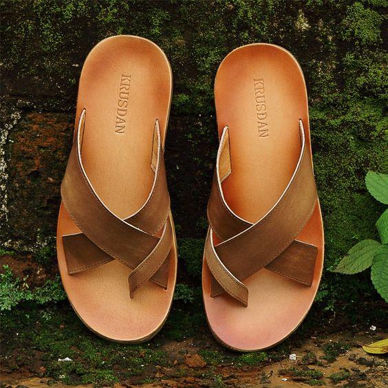 2016 estate nuovi uomini genuino pantofole in pelle di moda confortevole traspirante sandali da spiaggia singolo consegna gratuita(China (Mainland))