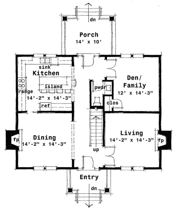 Plan 44045td center hall colonial house plan colonial for Fireplace floor plan