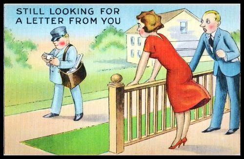 Vintage 1920s Artist Drawn Comic Postcard postman bag mail ...