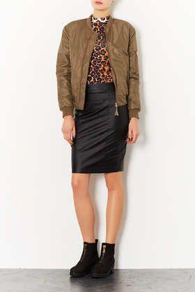 Petite Leather Look Pencil Skirt